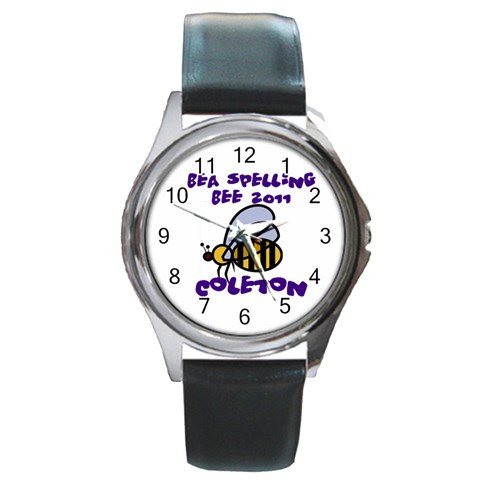 Spelling Bee Watch Thick Font By Chantel Reid Demeter   Round Metal Watch   66wj034i614c   Www Artscow Com Front