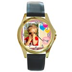 Party time - Round Gold Metal Watch
