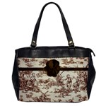 Brown Flower Toile Warm Fuzzy Tote Bag - Oversize Office Handbag (One Side)