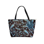 Brown Blue Paisley Dot Warm Fuzzy Tote Bag - Classic Shoulder Handbag