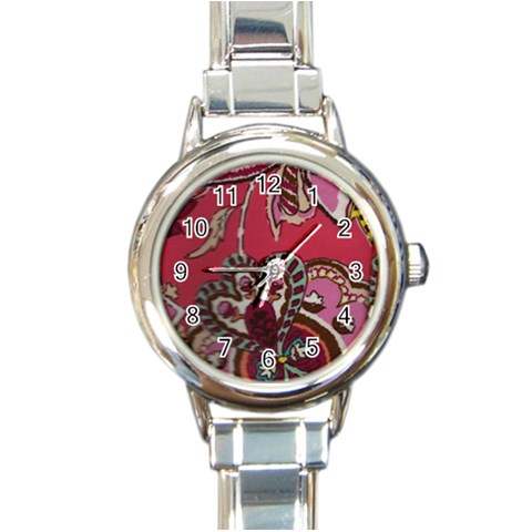 Coral Italian Charm Watch By Eleanor Norsworthy   Round Italian Charm Watch   Xuyf6hz5vp7f   Www Artscow Com Front
