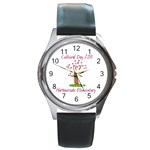 cultural day watch for harbourside cultural day purple font - Round Metal Watch
