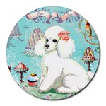 Whte Poodle Cakes Cupcake  Round Mousepad