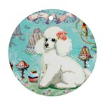 Whte Poodle Cakes Cupcake  Round Ornament (Two Sides)
