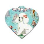 Whte Poodle Cakes Cupcake  Dog Tag Heart (Two Sides)