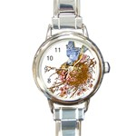 Bluebird and Nest Round Italian Charm Watch