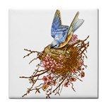 Bluebird and Nest Tile Coaster