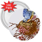 Bluebird and Nest 3  Button (100 pack)
