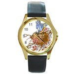 Bluebird and Nest Round Gold Metal Watch