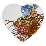 Bluebird and Nest Heart Ornament (Two Sides)