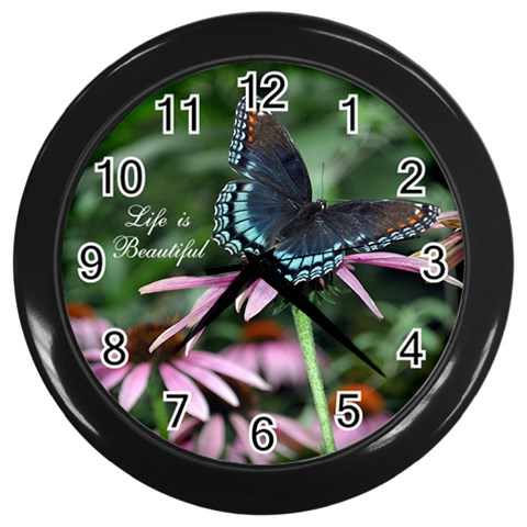 Life Is Beautiful Butterfly Clock By Lynn   Wall Clock (black)   An57intpo4sl   Www Artscow Com Front