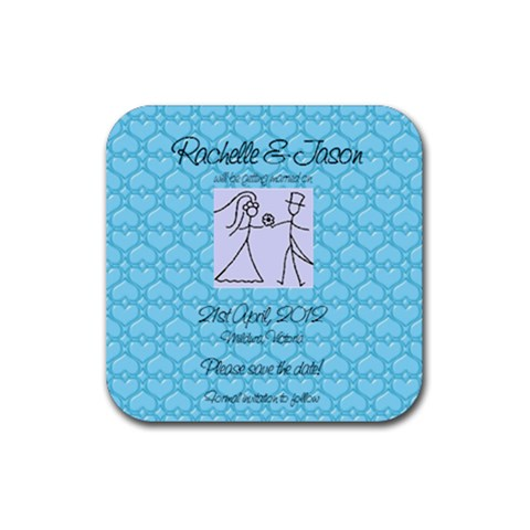 Save The Date Square By Jaci Leslie   Rubber Square Coaster (4 Pack)   3m196ovnqigv   Www Artscow Com Front