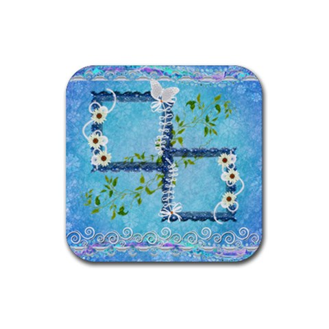 Spring Flower Floral Blue Square Rubber Coaster By Ellan   Rubber Coaster (square)   S5htkycgqaf8   Www Artscow Com Front