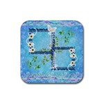 Spring Flower floral blue square rubber coaster - Rubber Coaster (Square)