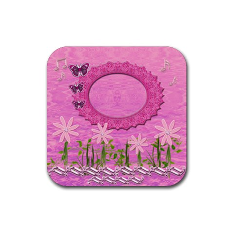 Spring Flower Floral Pink Music Square Rubber Coaster By Ellan   Rubber Coaster (square)   Or5q37ym9v69   Www Artscow Com Front