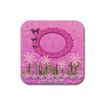 Spring Flower floral pink music square rubber coaster - Rubber Coaster (Square)
