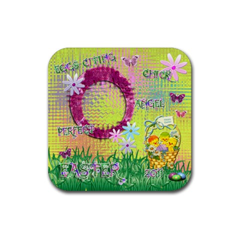 Spring Flower Floral Easter Yellow Square Rubber Coaster By Ellan   Rubber Coaster (square)   Q6lbugrc7xxp   Www Artscow Com Front
