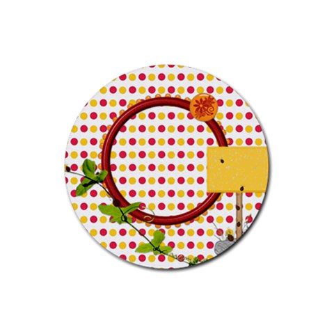 Miss Ladybugs Garden 4pk Round Coaster Set 1 By Lisa Minor   Rubber Round Coaster (4 Pack)   Ve4on7x9zum4   Www Artscow Com Front