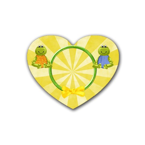 Lil  Froggie 4pk Heart Coaster 1 By Lisa Minor   Rubber Heart Coaster (4 Pack)   Iqvhj0qp55j4   Www Artscow Com Front
