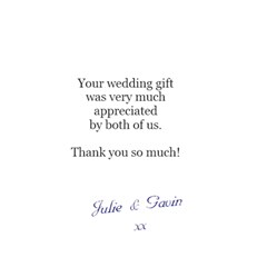 Wedding Thank You Card By Sooze   Greeting Card 4 5  X 6    Gc9s3rfdh4dl   Www Artscow Com Back Inside