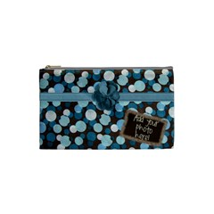 Brown Blue Polka Dot Warm Fuzzy Cosmetic Bag By Redhead Scraps   Cosmetic Bag (small)   7zhvo139lgeg   Www Artscow Com Front