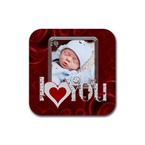 I Love You Square Coaster By Lil    Rubber Coaster (square)   Znkml5tp8xij   Www Artscow Com Front