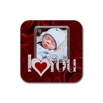 I Love You Square Coaster - Rubber Coaster (Square)