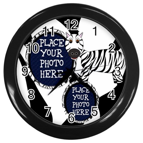 Zebra Clock By Chere s Creations   Wall Clock (black)   Tlq8njgj9gyd   Www Artscow Com Front