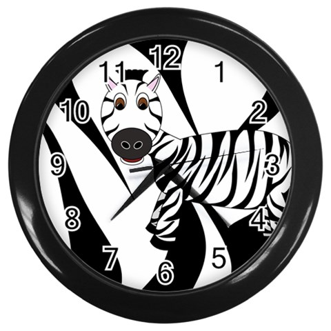 Zebra Clock2 By Chere s Creations   Wall Clock (black)   Vlo29h85aws5   Www Artscow Com Front