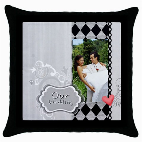 Our Wedding By Joely   Throw Pillow Case (black)   4ioheusfzddf   Www Artscow Com Front