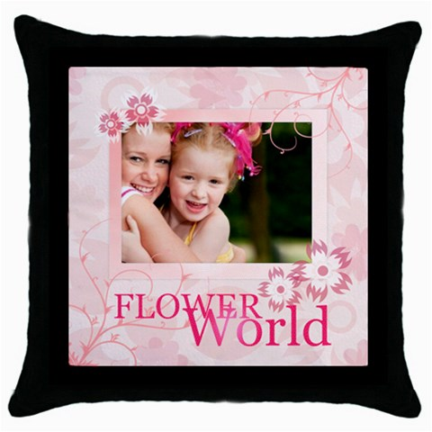 Flower World By Joely   Throw Pillow Case (black)   Atqzqr76r8c9   Www Artscow Com Front