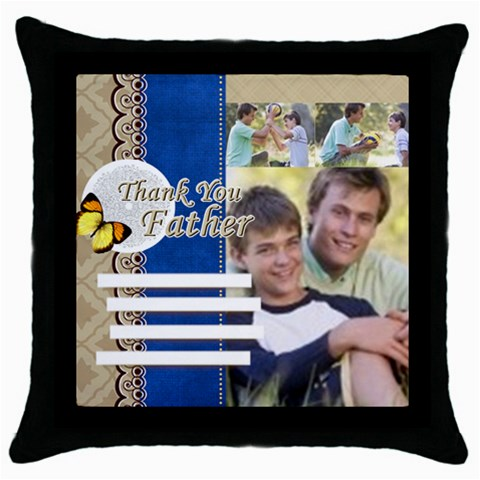 Fathers Day By Joely   Throw Pillow Case (black)   Zxn9t5jmejeo   Www Artscow Com Front