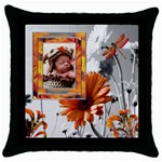 Orange Accent Throw Pillow Case - Throw Pillow Case (Black)