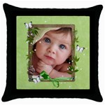 baby pillow - Throw Pillow Case (Black)
