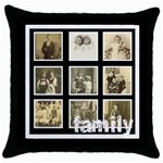 Multi Frame Family  Throw Pillow - Throw Pillow Case (Black)