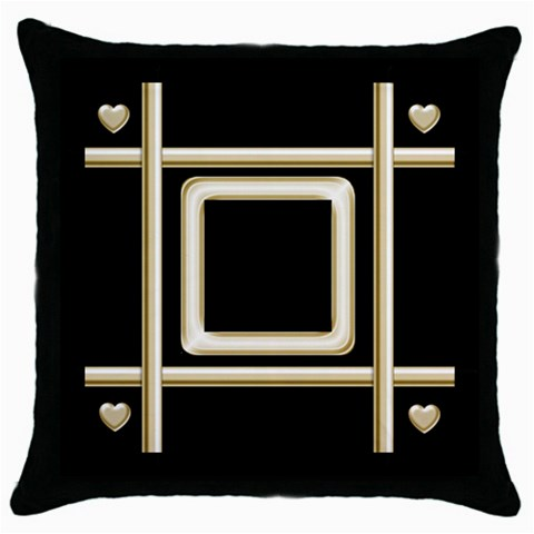 Black And Gold 2 Throw Pillow By Deborah   Throw Pillow Case (black)   19zr997xseku   Www Artscow Com Front