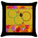 Miss Ladybugs Garden Throw Pillow 1 - Throw Pillow Case (Black)