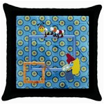 Silly Summer Fun Throw Pillow 1 - Throw Pillow Case (Black)