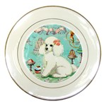 whte poodle treats bon bon copy Porcelain Plate