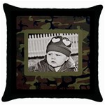 Camo Pillow Case - Throw Pillow Case (Black)