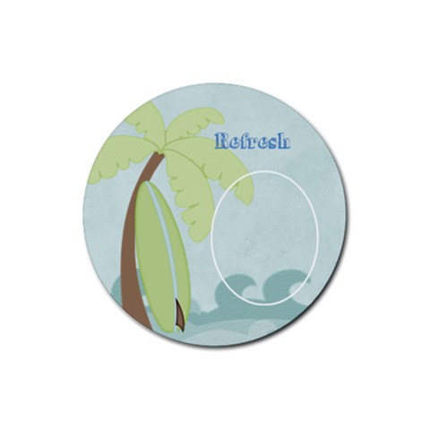 At The Beach: Refresh Coaster By Bitsoscrap   Rubber Round Coaster (4 Pack)   Gsbkzkps4cnn   Www Artscow Com Front