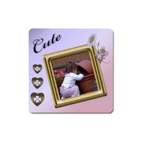 Cute Square Magnet By Deborah   Magnet (square)   Vnps3xlrngik   Www Artscow Com Front