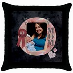 #1 Mom Throw Pillow Case - Throw Pillow Case (Black)