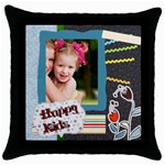 happy kids - Throw Pillow Case (Black)