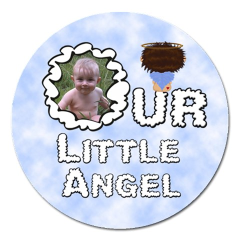 Our Little Angel Boy Round 5 Inch Magnet By Chere s Creations   Magnet 5  (round)   Pgl0cdbetpce   Www Artscow Com Front