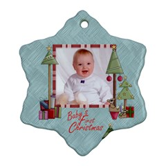 Baby s First Christmas Double Sided Snowflake Ornament by Catvinnat Front