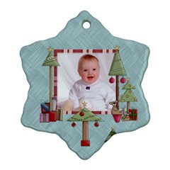Baby s First Christmas Double Sided Snowflake Ornament by Catvinnat Back
