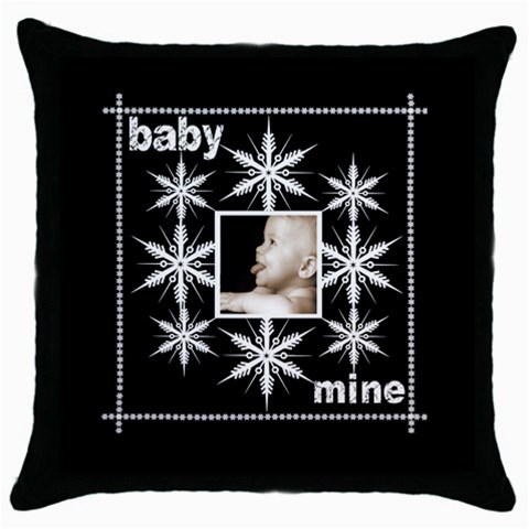 Baby Mine Snowflake  Throw Pillow By Catvinnat   Throw Pillow Case (black)   7jvzhm6fx2yo   Www Artscow Com Front