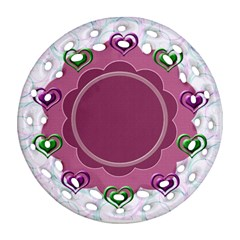 Heart U By Daniela   Round Filigree Ornament (two Sides)   6fuhodedagvg   Www Artscow Com Front