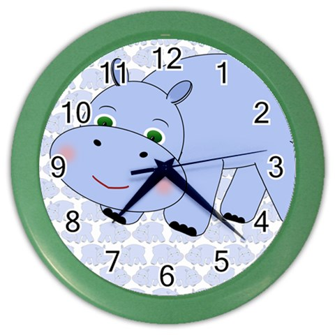 Hippo Blue Clock 2 By Chere s Creations   Color Wall Clock   E6igieder4bj   Www Artscow Com Front